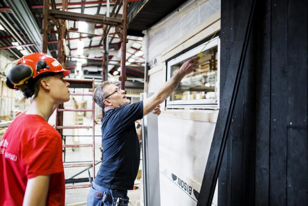 Bild från lektion på Bygg- och anläggningsprogrammet